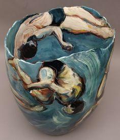 Diving, red earthenware vessel.  Jitka Palmer, 2012