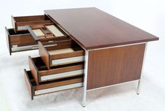 Walnut and Aluminum Mid-Century Modern Large Executive Desk image 6