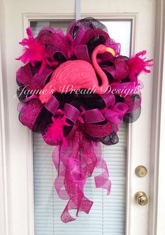 Spanish Town Mardi Grad Wreath with Pink Flamingo Jayne's Wreath Designs Flamingo Craft, Flamingo Decor, Flamingo Outfit, Summer Wreath, 4th Of July Wreath, Plastic Pink Flamingos, Deco Mesh Wreaths, Door Wreaths, Diy Wreath