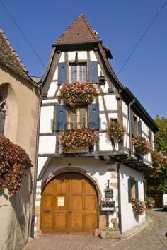 romantic french Architecture | Romantic half-timbered house in Kaysersberg in Alsace, France, Europe