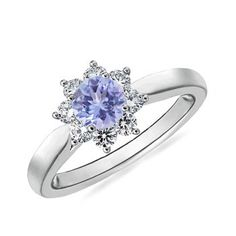 Angara Sunflower Inspired Tanzanite Diamond Tapered Ring in 14k Yellow Gold UqOE2tu