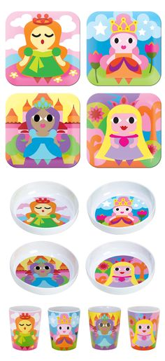 French Bull PRINCESS COLLECTION: melamine, kids plates, kids bowls, kids juice cups, BPA-free, kid friendly tableware, safe indoors and outdoors, scratch and shatter resistance, dishwasher safe