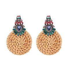 Rattan Crystal Diamond Fashion Earrings 14.99 CAD Round Earrings, Crystal Earrings, Women's Earrings, Bamboo Weaving, Shoes Heels Wedges, Vintage Bohemian, Fashion Earrings, Rattan, Bubbles