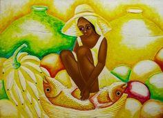 """Quadro """"Donna con anfora- Rey Paulino""""http://www.solohechoamano.it/store/quadri/quadri-caraibi-rep-dominicana-haiti/quadro-donna-con-anfora-rey-paulino-3814.html"""