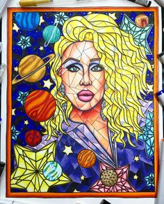 Here is my finished stained glass style portrait of Chad Michaels! She is commander of this spaceship. Chad is such a regal queen. Whenever I watch her I am always so inspired. #dragqueen