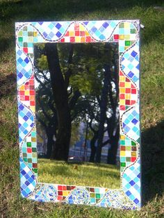 "Mosaiquismo. Espejo ""Multicolor"". Luzazul Arte Mosaics."
