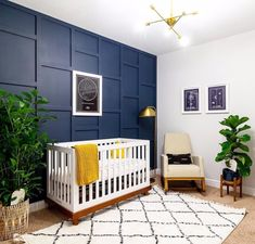 Blue Nursery Girl, Navy Nursery, Nursery Modern, Nursery Neutral, Nursery Room, Nursery Decor, Modern Nurseries, Girl Nurseries, Chic Nursery
