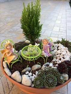 Mini fairy garden where the little lovely fairies can spend their tea time :-)