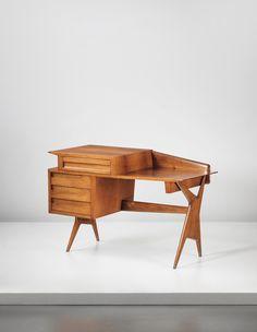 Ico Parisi; Walnut Desk for Palazzina Fago, 1958.