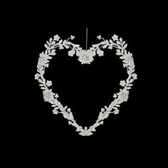 Metal White Floral Heart Decoration