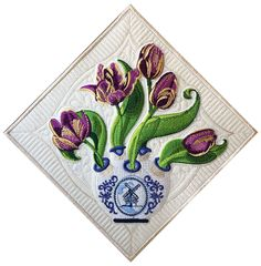 """Flower Basket Block 3 March: Royal Rembrandt Tulips. In The """"Language of Flowers,"""" purple tulips are reserved for royalty... ours are edged in gold and place in a perfect Dutch Tulip vase. San Francisco Stitch Co."""