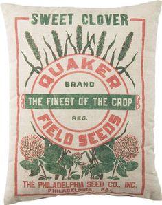 Feed Sack Pillow - Quaker Field Seeds