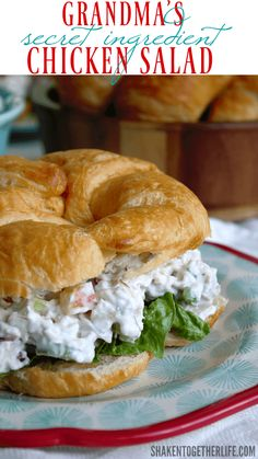 Grandma's Secret Ingredient Chicken Salad recipe is one of her most requested! This easy elegant chicken salad is perfect for lunch, brunch, showers and potlucks! Best Chicken Salad Recipe, Chicken Recipes, Chicken Salads, Rotisserie Chicken Salad, Chicken Salad Recipe With Grapes And Apples And Pecans, Chicken Salad Recipe With Sour Cream And Mayo, Chicken Salad With Eggs, Chicken Salad Croissant, Chicken Wraps