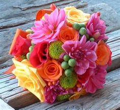 Summery mixed bouquet, roses, poms hypericum  berries