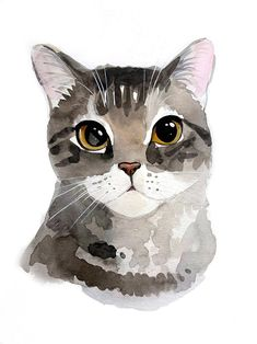 Cat Portrait Custom Cat Portrait Pet Portrait Watercolor Pet Portrait Cat Watercolor Custom Cat Art Cat memorial Custom gift Gift for Mom - Katzen Watercolor Cat, Watercolor Animals, Watercolor Portraits, Watercolor Illustration, Watercolor Tattoo, Watercolor Paintings, Watercolor Trees, Watercolor Artists, Watercolor Landscape