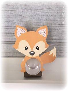 Boite baptême renard boule 5cm - Thème animaux de la forêt