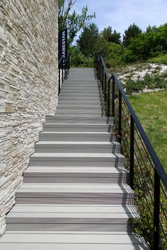 UPM ProFi Deck 150 decking boards and Rail Steps offer a perfect solution for beautiful stairs. The composite material is low-maintenance and long-lasting. Decking Boards, Wpc Decking, Beautiful Stairs, Composite Material, Midnight Sun, Granite, Restaurants, Hotels, Colours