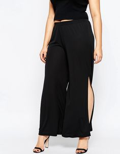 Image 4 of ASOS CURVE Wide Leg Pant with Side Split in Crepe