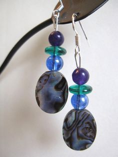Abalone and Glass Earrings by SmithNJewels on Etsy, $9.99