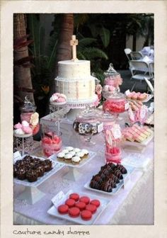Vintage Baptism Dessert Table by karin