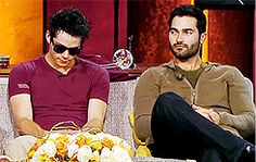 "Dylan & Tyler when they hear the word ""Sterek""."