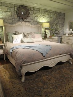 The Primrose Hill Collection from Hooker Furniture will wrap you in comfort and style.  The Shelter Bed, with its caned headboard, honors the lovely area, overlooking the city of London.  #HPMkt - IHFC Bldg