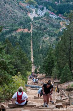 Manitou Incline - 2,000 ft of elevation in less than a mile (near Colorado Springs).
