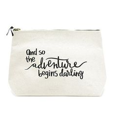 Travel Makeup Bag - Premium Large Canvas Travel Makeup Bag Pouch with Quote