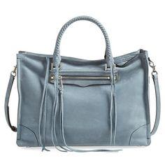 Women's Rebecca Minkoff 'Large Regan' Satchel ($395) ❤ liked on Polyvore featuring bags, handbags, denim, denim handbags, rebecca minkoff handbags, denim purse, structured handbags and studded handbags