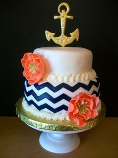 Love this feminine nautical cake! Pretty Cakes, Cute Cakes, Beautiful Cakes, Amazing Cakes, Sweet Sixteen, Anchor Cakes, Chevron Cakes, Nautical Cake, Sweet 16 Cakes