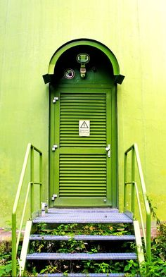 Door to one of the wind turbines at Holzschlagermatte, in Schauinsland, Baden-Württemberg, Germany.- title The Green Door