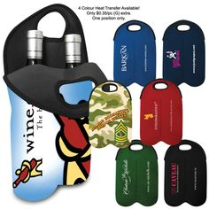 Protect, insulate and keep cool 2 bottles of wine with this neoprene bottle carrying case. The divided wine carrier has strong cut out handles made to easily transport to any dinner or event. Now available in 19 standard neoprene material colors.  Minimum quantity applies per material color.