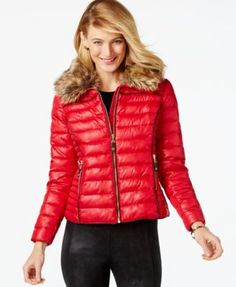INC International Concepts Faux-Fur Collar Puffer Bomber Jacket, Only at Macy's