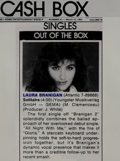 "Laura Branigan 1983, Cashbox abt ""Solitaire"""