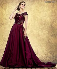 magenta-silk-gown-with-patch-work