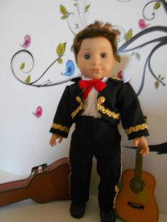 Mariachi charro traje suit black gabardine gold trim fits 18 in like American Girl boy doll Folklorico Dresses, Mariachi Suit, Boy Doll, Ag Dolls, Black Boots, American Girl, Dress Up, Handsome, Suits
