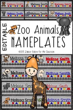 14 DIFFERENT Baby Zoo Animal Nameplates for your animal themed classroom! Animals are such a cute theme in the elementary classroom. Students will love these nameplates featuring these precious animals: ❧Brown Bear ❧Giraffe ❧Hippopotamus ❧Lion ❧Monkey ❧Panda ❧Penguin ❧Polar Bear ❧Rhinoceros ❧Tiger ❧Zebra ❧Alligator  This resource contains TWO VERSIONS of the nameplates:  An editable PowerPoint version that allows the buyer to edit the nameplates on his/her personal computer. It includes the…