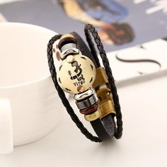 12 Constellation Braided Genuine Leather Bracelet For Men And Women- What's Your Sign?