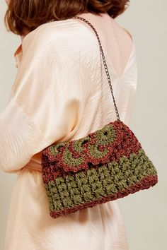 Maria La Rosa Crochet Bag with Chain in Green / Brown
