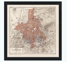 Old Map of Athens Greece 1880 This is a reproduction of an highly detailed map. The Map is approximately x inches It has an extra Greece Map, Athens Greece, Vintage Maps, Vintage Posters, Athens Map, Old Maps, City Maps, All Poster, Pigment Ink