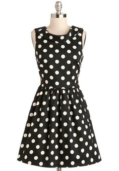 I see lots of polkadot dresses at the thrift shops...maybe I can make one like this! One Swell Swoop Dress, #ModCloth