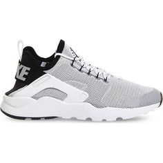 NIKE Air huarache run ultra mesh trainers ($125) ❤ liked on Polyvore featuring shoes, laced up shoes, round toe shoes, nike footwear, mesh shoes and lace up shoes