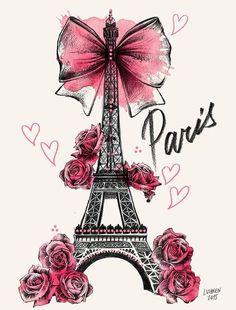 Lutheen Illustration - Draw - 'Roses for Paris'… Tour Eiffel, Paris Eiffel Tower, Paris Kunst, Art Parisien, I Love Paris, Paris Theme, Cute Wallpapers, Girly Wallpapers For Iphone, Cute Drawings