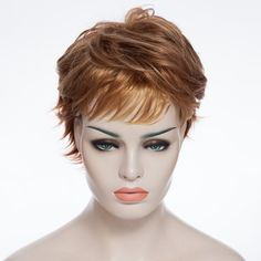 Fluffy Short Side Bang Gold Wave Fashion Heat Resistant Synthetic Wig For Women 10.56 USD