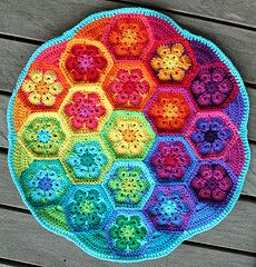 """African Flower Hexagon Crochet pattern published in a South African Magazine called """"Sarie"""""""