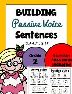**FREEBIE *** PASSIVE VOICE Common Core aligned to Lit.L.2.1.1.F***Please see the animated GIF***CCSS.ELA-LITERACY.L.2.1.FProduce, expand, and rearrange complete simple and compound sentences (e.g. The action movie was watched by the little boy).Check out other related worksheets here.COMPOUND SENTENCES Grades 1-2, Common Core AlignedExpanding Simple Sentences 28 TASK CARDS Common Core AlignedWORD ORDER Grades K to 2 - 37 pages, Print and Go!SIMPLE SENTENCES Expanding & Rearranging 18 pgs…