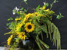 Fall brides bouquet for Biltmore Estate Lioncrest wedding. Asheville wedding flowers; all local, sunflowers, hanging amaranthus, solidego, honeysuckle & privet berries in vine armiture. Designed by Janet Frye AIFD, The Enchanted Florist Asheville