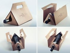 interior holds one large bottle, or different combinations of each of the smaller sizes. The triangular shape minimizes the amount of cardboard used, and allows the package to be stackable when carried. The package folds flat for easy storage and shipping, and quickly unfolds when needed. Post- consumer FSC kraft cardboard and minimal ink coverage was chosen to reduce the package's environmental impact.""