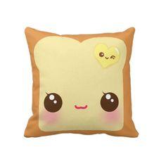 Kawaii Toast cushion case - CC9 | ChibiBunny - Home & Garden on ArtFire