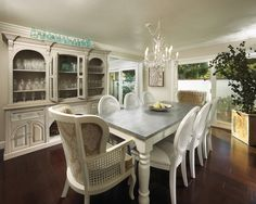 White Dining Table With Distressed Grey Top